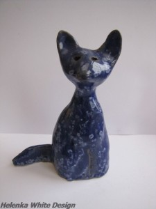 I made this cat with clay in 1997 - copyright Helen White