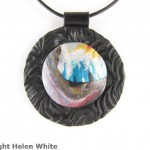 Polymer clay landscape pendant: Cave and Sea - copyright Helen White