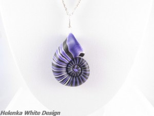 Purple and black polymer clay nautilus pendant - copyright Helen White